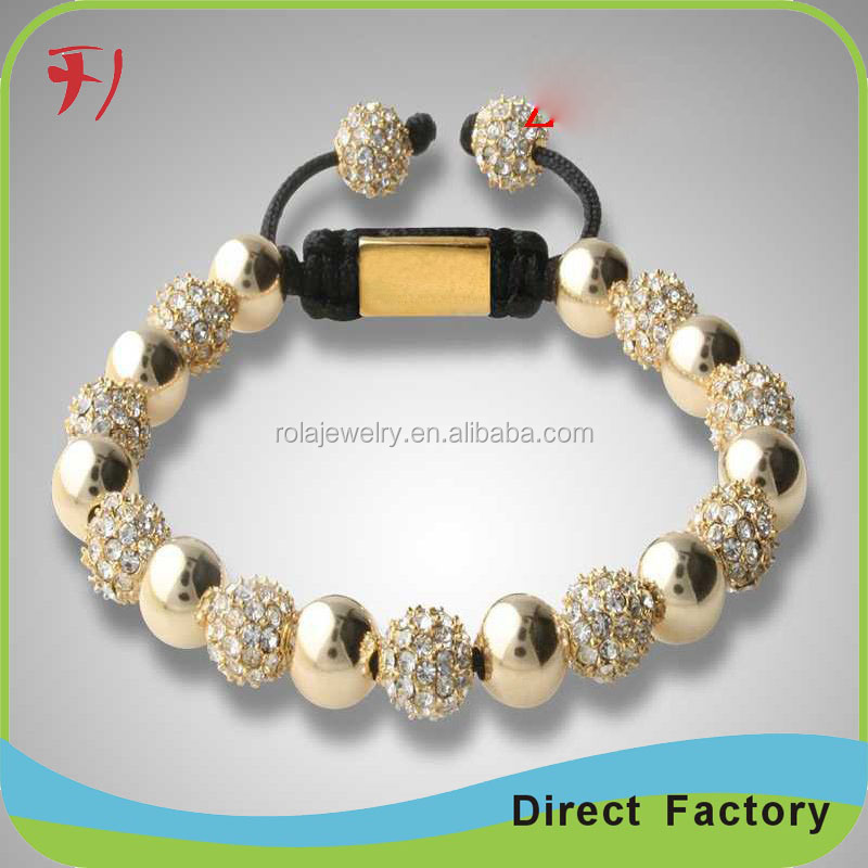 black faced agate beads with high quality shamballa zircon beads for bracelet