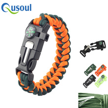 Top Quality Survival Man Rope 550 Knife Fire Starter Compass Whistle Buckle Paracord Bracelet
