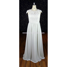 2018 lace top cap sleeve see through back chiffon fat bridesmaid dress white wedding dress floor-length from China