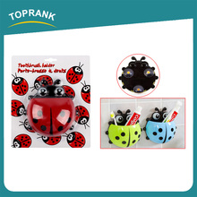 Toprank Bathroom Accessory Cute Ladybug Cartoon Toothbrush Holder Wall Mounted Suction Bathroom Sets Plastic Toothbrush Holder