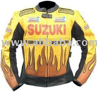 New Flames Motorbike Leather Jacket Suit M L XL 36 T 52