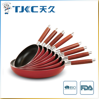 Red Non-stick Fry Pan with Wooden Handle