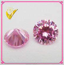 pink round lab created cubic zirconia gemstone, high quality gems stone beads cz