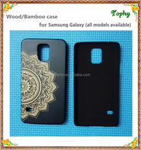 Bamboo Wood engraving Phone Case For iphone and Samsung S5 Sunflower wooden cases for cellphone/mobile phone