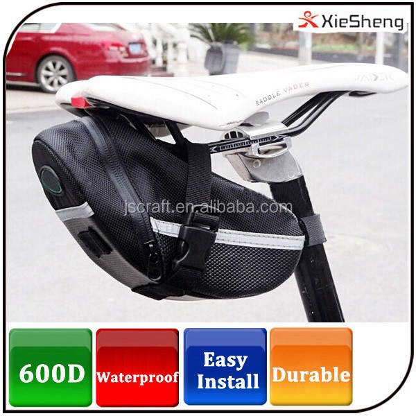 Wholesale logo customized 600D durable Bike Bag waterproof leather bicycle saddle bag