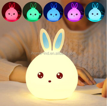 New style Rabbit LED Creative Light For Children Baby Kids Bedside Lamp Multicolor Silicone Touch Sensor Tap Control Night Light