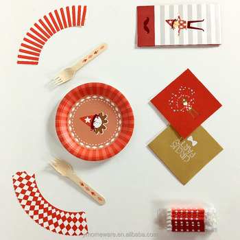 Paper Circus party supplies kids theme Tableware Cups Plates Napkins Circus Decorations