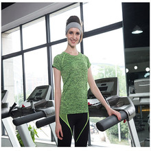 Female slim fit breathable space dyed sports short sleeve tirupur t shirts