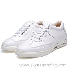 2017 Brand New Casual White Leather Men Elevator Shoes for Wide Feet