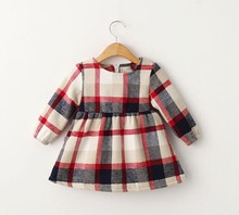 customized long sleeve latest design small baby girl's cotton frock dress for kids