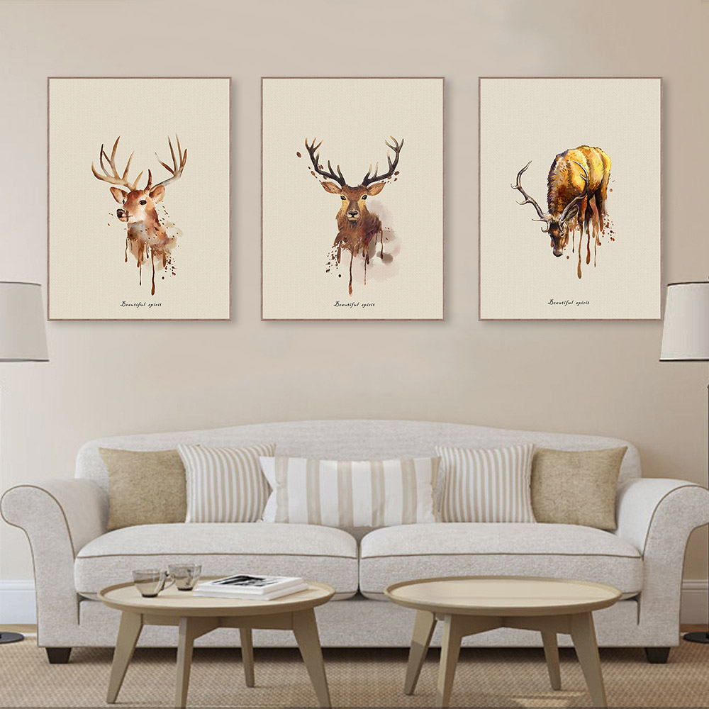 Triptych Watercolor Deer Head A4 Art Wall Prints Poster Cottage Animal Pictures Living Room Home Decor Paintings No Frames