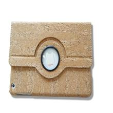 eco-riendly light weight book style 360 rotation anti scratch cork leather case for ipad 4