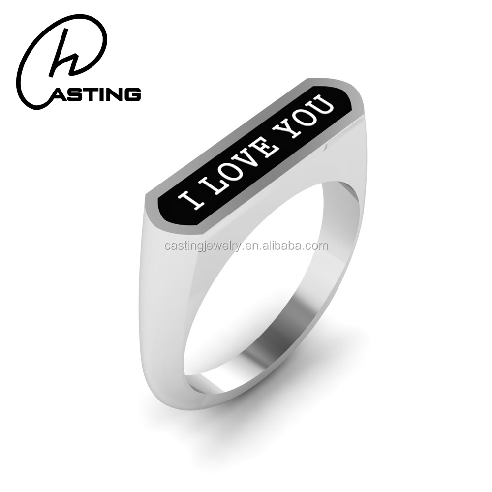 316L Surgical stainless Steel Cheap Signet Ring I Love You Ring