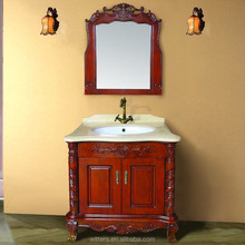 WTS- 1299 Prefab Modular Farmhouse type single Sink red color wooden Bathroom Vanity