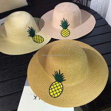 Wide Brim Paper Straw Embroidery Pineapple Beach Hats