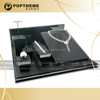 Fashion jewelry display counter,wooden jewelry display case,PU jewelry display set