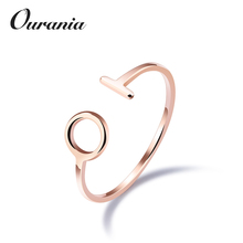 Fashion Cute Rings Design Love T Circle Round Titanium Steel Rose Gold Color Open Finger Rings for Girls