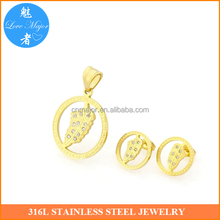 Gold plated designs leaf shape pendant earrings for women MJCX-337