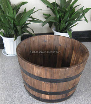 Outdoor roun garden wooden flower planter with hoop iron