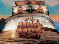 sailing boat design 3D reactive printed bed cover set
