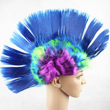 Punk Cockscomb Wigs Masquerade Fans Halloween Funny Color Fluffy Headdress synthetic wig QPWG-2097