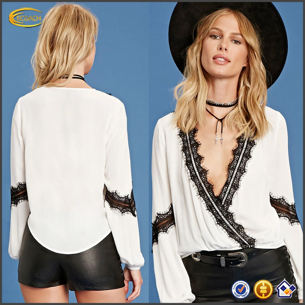 Ecoach western style surplice front Lace-Trim white blouse long sleeve sexy ladies lace patch work in blouse neck designs