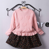 2015 Korean style girls patchwork thick dress children long sleeve frocks designs for winter