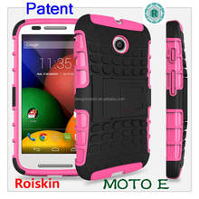 Anti-shock bumper mobile phone case for Moto E with stand back cover