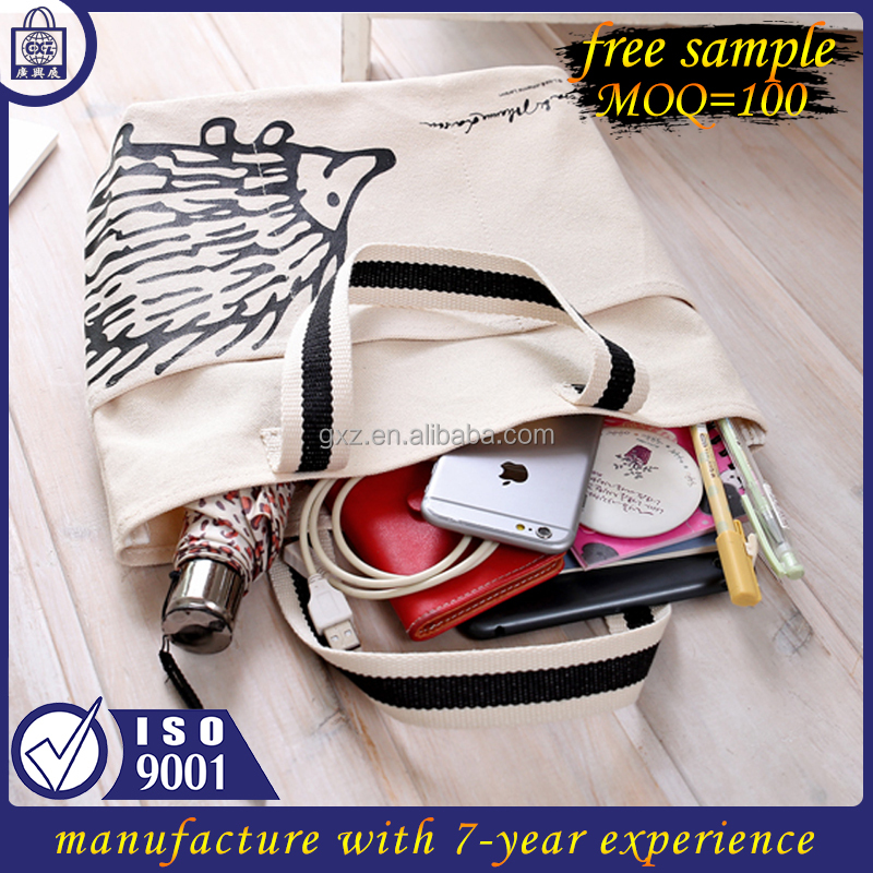 Free sample China manufacture custom printed eco cotton canvas tote bags