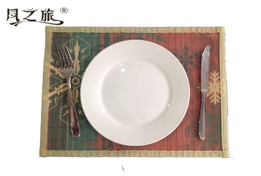 2014 Christmas Customized anti-slip Printed natural Bamboo Woven rattan Placemats