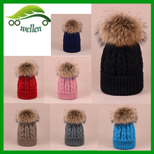 Wholesale Warm Acrylic Custom Knitted Beanie Hat Winter hats with raccoon fur ball on top