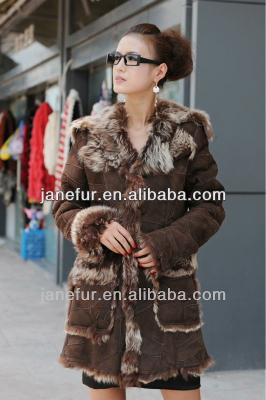 Wool large lapel genuine leather female fur one piece sheepskin genuine leather clothing outerwear overcoat long design