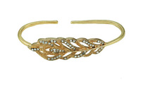 Gold Color Free Size Wheat Leaf Design Hand Palm Cuff Bangle Fashion Palm Bracelet Handlet with CZ Zircon
