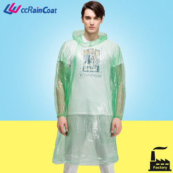 adult ldpe disposable transparent plastic raincoats for wholesale