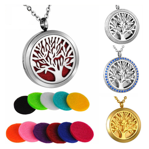 Stainless Steel Aroma Perfume Locket Jewelry Aromatherapy Pendant essential oil diffuser necklace