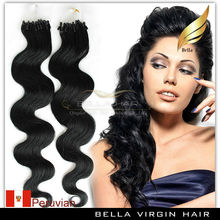Fast delivery Peruvian remy micro bead link loop cheap pre-bonded micro ring hair extension