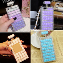 2014 the latest fashion diamond crystal bottle perfume phone case with chain