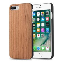 Natural Half Cover PC Wood Pattern Mobile Phone Back Cover Case For iPhone 7 Plus