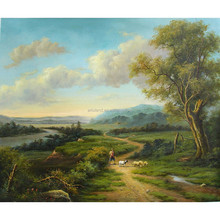 Wholesale gift good quality modern canvas prints farm Landscape Oil Painting