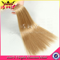 Factory wholesale virgin russian hair non remy double drawn hair extensions