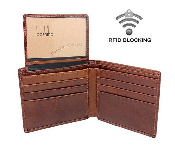 Custom mens luxury wallets genuine cow leather wallet men rfid