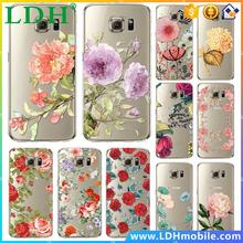 Case for Samsung Galaxy S7/S7Edge Soft Silicon TPU Transparent Clear flowers Peony rose lotus Thin Phone Cases