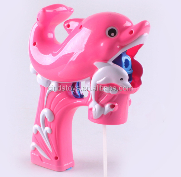 Funny double dolphins led light & music kids blow bubbles toys Soap bubble set for sale