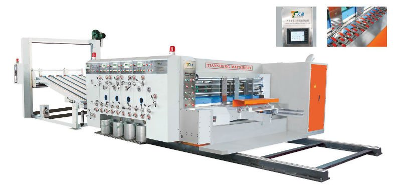 Automatic high speed corrugated cardboard fruit carton box making packing flexo printing die cutting machine