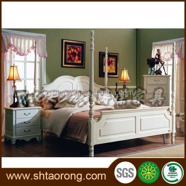 European style wood white queen four poster bed