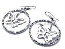 Big circle butterfly steel solor stainless steel never fade for women's glamour drop earrings jewellery
