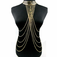 B12245A body chain fashion plated long body chain jewelry for women
