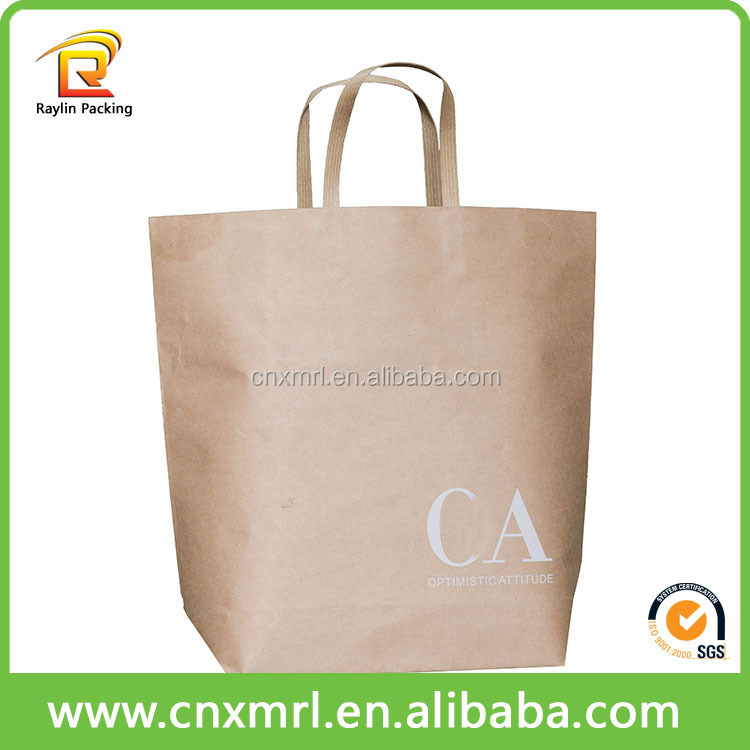New Custom Design Printed Shopping Brown Kraft Paper Bag