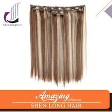 2015 new products cheap virgin clip in human hair extensions , two tone ombre human hair #1b/#27