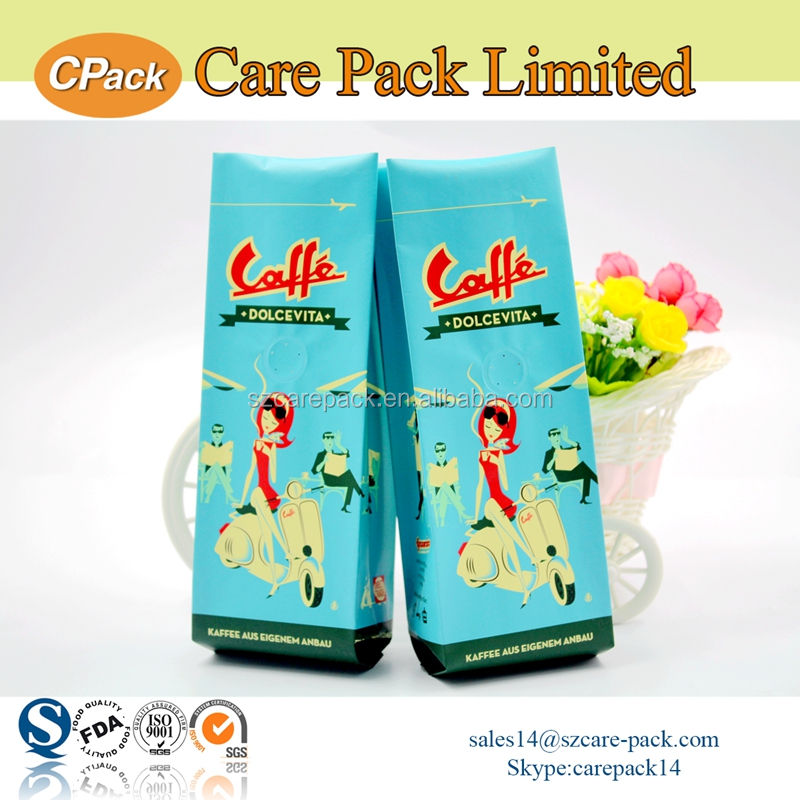 Custom printed side gusset coffee bean packaging bags with valve